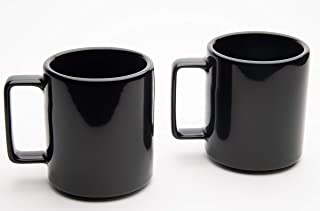 American Mug Pottery Ceramic Square Handle Coffee Mug, Made in USA (17 oz - Pack of 2, Black)