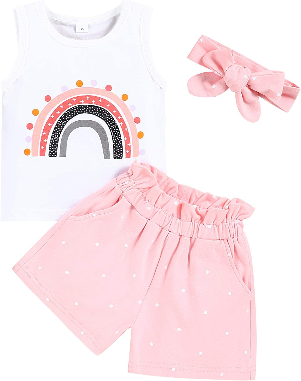 Toddler Baby Girl Clothes Newborn Outfits 3Pcs Infant Sleeveless Bohemian Pants Set + Headband
