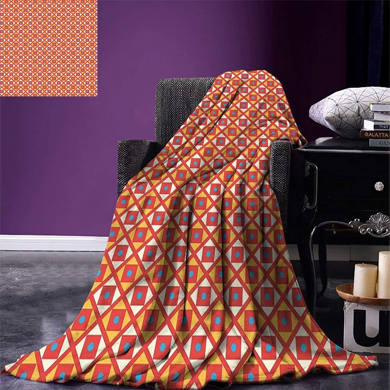 VAMIX Kids Throw Blanket Checked Pattern with Dots in Squares Diagonal Geometrical Retro Style Velvet Plush Throw Blanket Marigold Scarlet Sky bluee, Blanket