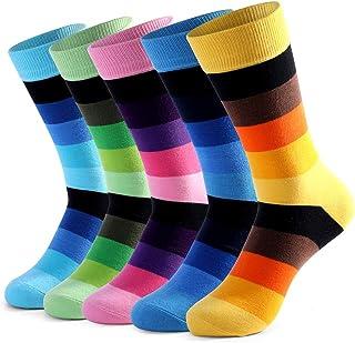 5 Pares Calcetines Estampados para Hombre Casuales Divertidos con Stripe fino de Algodón Peinado de Colores de Moda Cómodo Transpirable (39-47 EU)
