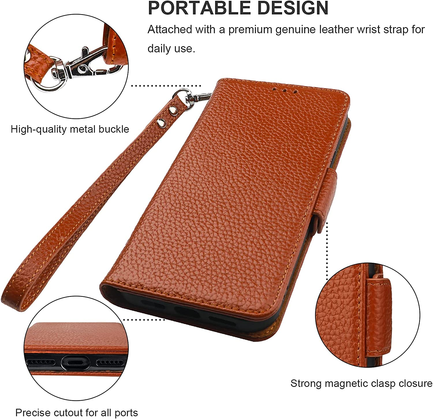 Bocasal Wallet Case for iPhone 11, Genuine Leather Support Wireless Charging RFID Blocking Flip Case Card Slots Holder, Kickstand Book Folding Folio Cover with Wrist Strap 6.1 Inch (Brown)