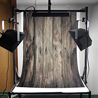 FLORATA Fotohintergrund, 9 x 152 cm, faltbar, Vinyl, Grau, Retro, Holz, Wand  und Boden Requisiten für Studio.