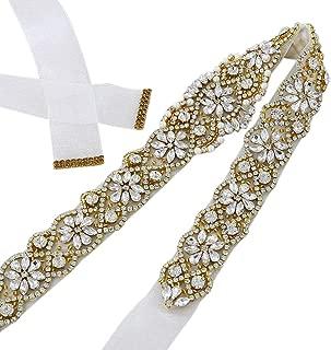 QueenDream Silver Rhinestone Belt White Ribbon Bridal sash Applique Crystal Pearls Beaded