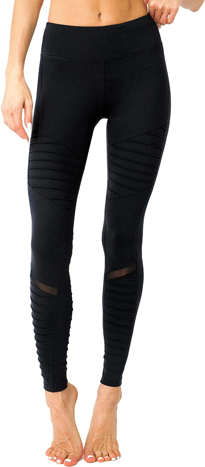 Savoy Active Athletique Low-Waisted Ribbed Leggings with Hidden Pocket and Mesh Panels
