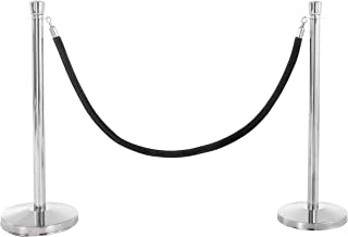 US Weight Premier Chrome Post and Black Velvet Rope Crowd Control Stanchions