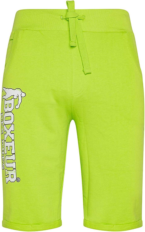 BOXEUR DES RUES - Acid-Green Sweatpant Shorts with Front Pockets, Man
