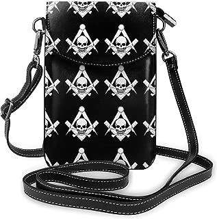 YongColer Fashion Small Cellphone Crossbody Shoulder Bag Cool Skull Freemason Logo Black Cell Phone Purse Wallet Lightweight Roomy Pockets Smartphone Bag for Women Girls Teens