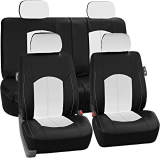 FH Group PU008114 Perforated Leatherette Full Set Car Seat Covers, (Airbag & Split Ready), White/Black Color- Fit Most Car, Truck, SUV, or Van