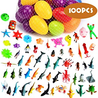 AYAOQIANG Egg Hunt Pack,Easter Eggs Filled with Dinosaur,Mini Pull-Back Vehicle Toys,Animals for Easter Theme Party Favor,Basket Filler, Classroom Prize Supplies (Multicoloured)