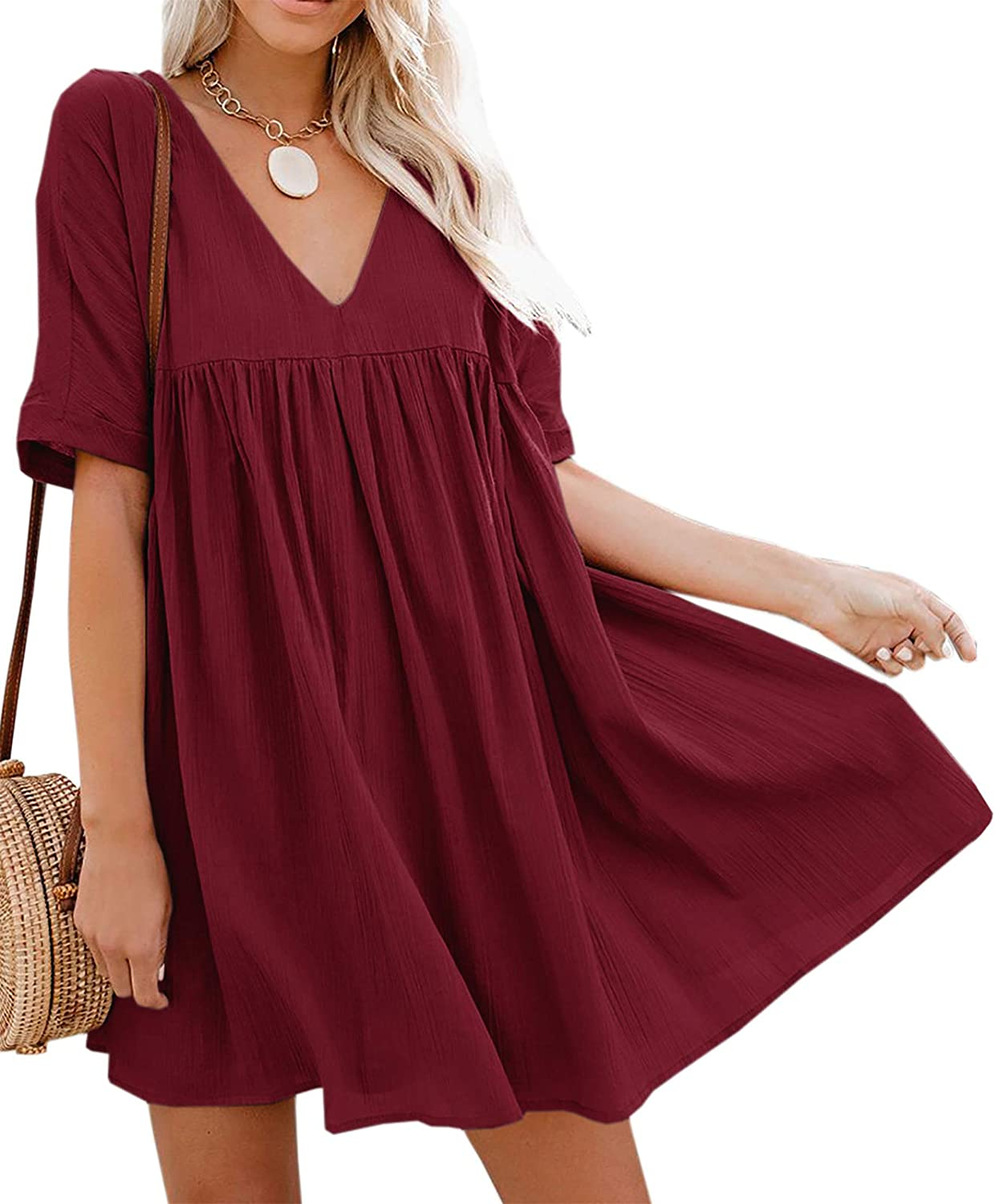 Hestenve Women's Short Sleeve V Neck Pleated Babydoll Solid Color Tunic Party Swing Mini Dress