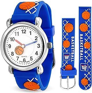 Bling Jewelry Orange Basketball Sports Waterproof Wrist Watch Time Teacher Quartz 3D Cartoon Blue Silicone Wristband