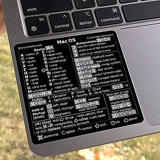 SYNERLOGIC Mac OS (Big Sur/Catalina/Mojave) Reference Keyboard Shortcut Sticker (M1+Intel) - Black Glossy Vinyl, Regular A...