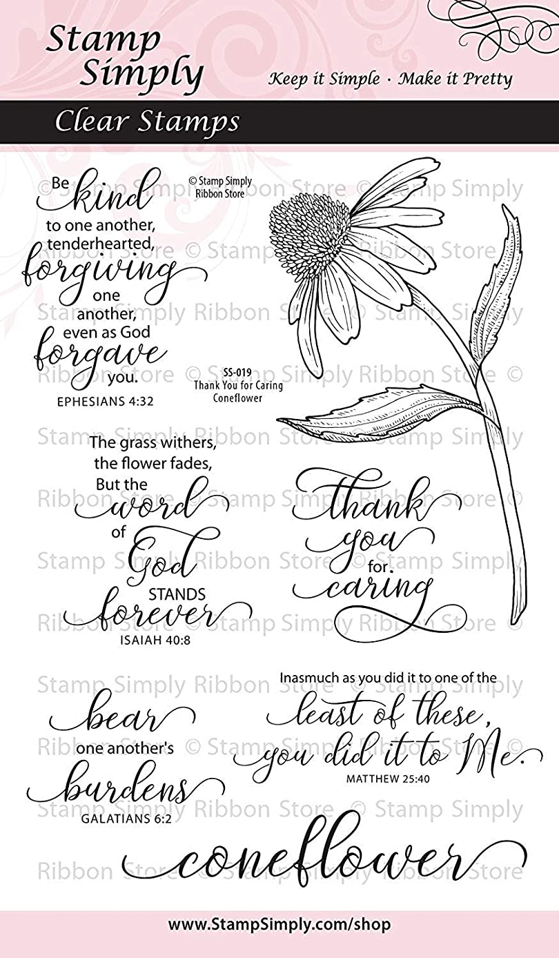 Stamp Simply Clear Stamps Thank You for Caring Coneflower Garden Flower Christian Religious 4x6 Inch Sheet - 7 Pieces