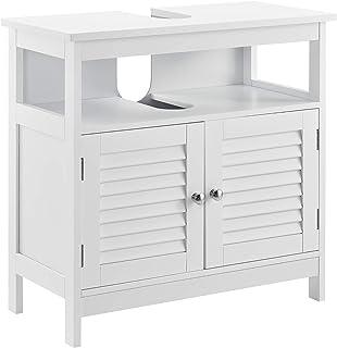 [en.casa] Mueble para debajo de lavabo con 2 puertas y con estante – 60x60x30cm – blanco