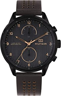 Tommy Hilfiger 1791577 Mens Quartz Watch, Analog Display and Leather Strap, Black