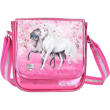 Depesche 11427 Miss Melody - Kleine Umhängetasche mit traumhaftem Pferde-Motiv, pinke Handtasche mit längenverstellbarem Tragegurt und Überschlag, ca. 6,5 x 20 x 20 cm