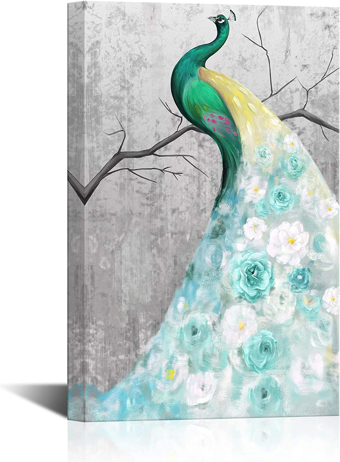 LoveHouse Peacock Animal Picture Art Prints Green Blue White Peacock Canvas Prints Artwork for Home Office Bedroom Living Room Framed and Stretched Animal Wall Decor Ready To Hang 16 x 24 Inch