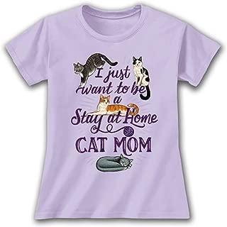 Stay at Home Cat Mom Lavendar Purple Women's Cotton Crew Neck T-Shirt