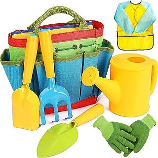 Gardening Set Kids Gardening Gloves Tool Bag Watering Can Trowel Rake Shovel Apron Gardening Kit for Kids Boys Girls