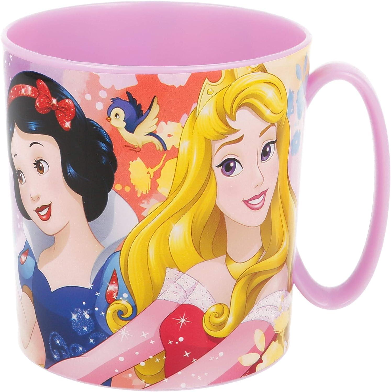 PRINCESAS DISNEY | Taza para niños y niñas con diseño de personajes - 350 ml | Taza infantil de plástico para microondas - Libre de BPA