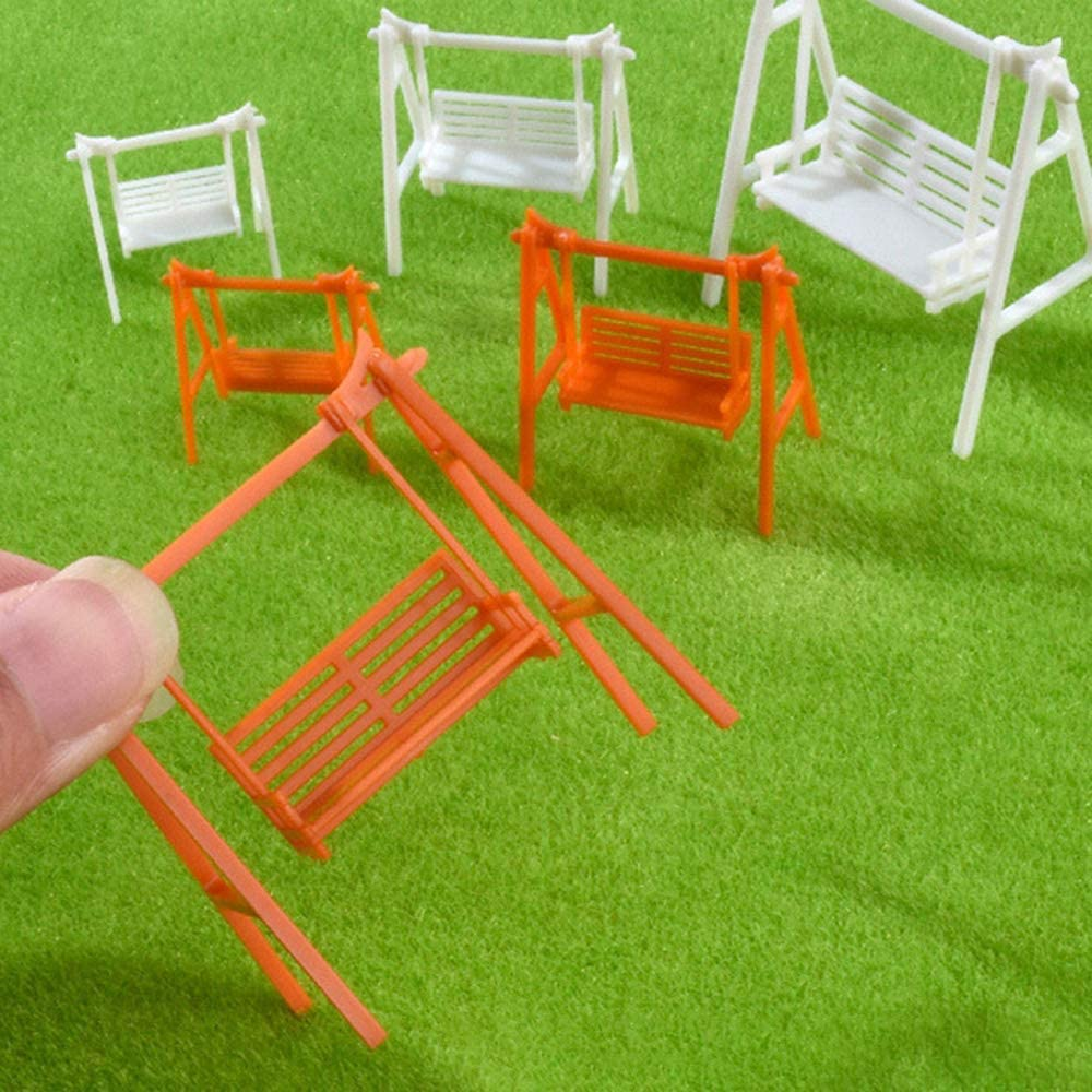 Leepesx Modello di Sedia da Altalena in Miniatura da Giardino in Materiale da Esterno Modello da Tavolo in Sabbia da 5 Pezzi
