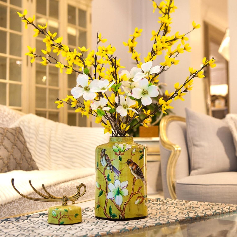 Decoración del hogar Sala de Estar en casa habitación de la casa den Bienes Vestido de Flores Adornos de artesanía jarrón de cerámica de Mesa