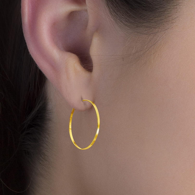 Steve Madden 39mm 54mm 59mm Rhinestone Hoop Earrings for Women Three Pair Set