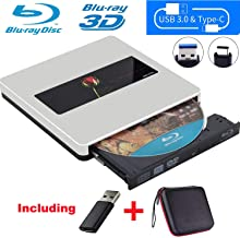 NOLYTH External Blu Ray Drive External Bluray Drive USB C Bluray Burner Drive Player for MacBook Pro/Air/Mac/Laptop/Windows10/3D
