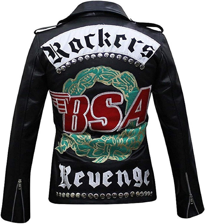 Bestzo Men's BSA Rockers sale Black Jacket Max 61% OFF Revenge Leather