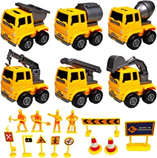GreenKidz Construction Cars and Trucks Toys for Boys and Toddlers 6 Engineering Trucks Excavator Crane Building Toys Playset