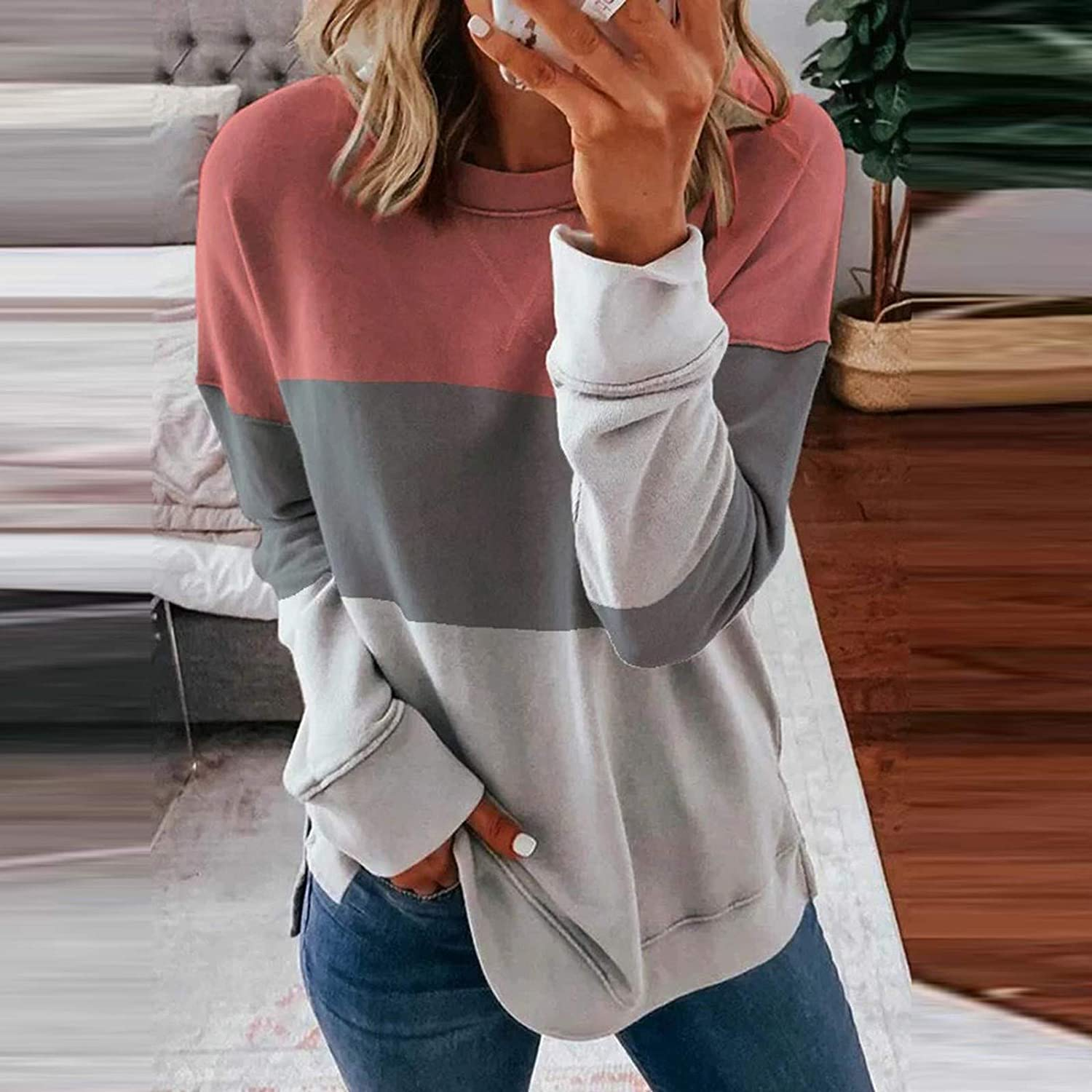 Long Sleeve Shirts for Women,Women's Casual Tie Dye Striped Round Neck Loose Pullover Sweatshirt Tops Pink