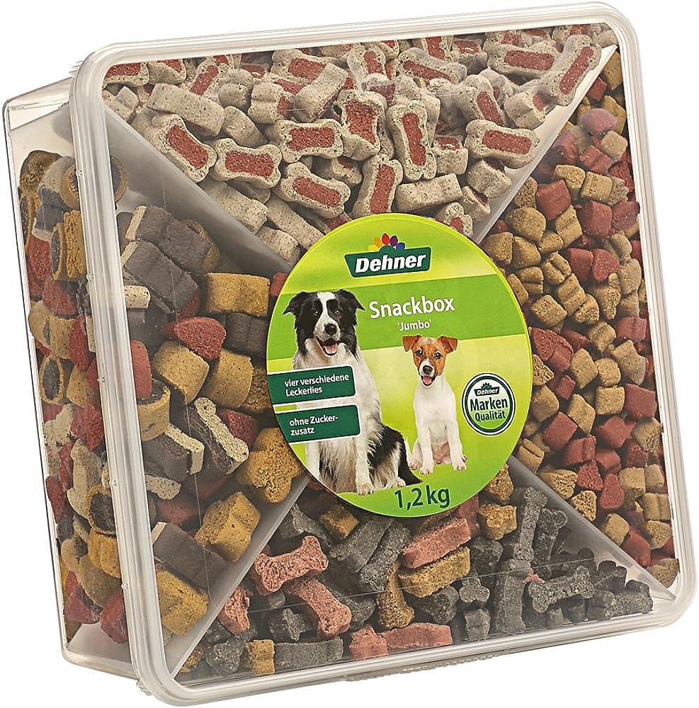 Dehner, pratica scatola richiudibile per snack con quattro diversi scomparti per spuntini per cani e gatti 3229499