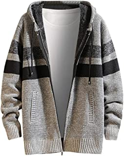 IZHH Men Hoodie Sweater Sweatshirt Knitted Jumper Cardigan Hooded Loose Knitwear