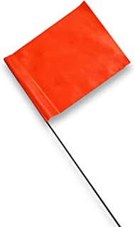 ACE Supply Marking Flags - 4 inch x 5 inch Flag on 15 inch Steel Wire Pole, Fluorescent Orange Flag Color, 100 Pack