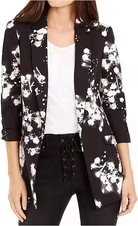 Women's Casual Newspaper Printed Hoodies Tunic Sweatshirt Suit Slim-fit Jacket Pockets