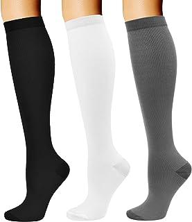 Compression Socks for Women & Men Long Athletic Socks Knee High 15-20mmhg Best for Athletic Running 3 Pairs