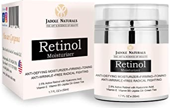 Jadole Naturals Beauty Retinol Moisturizer Cream For Face And Eye Area With Retinol Hyaluronic Acid Vitamin E And Green Tea. Night And Day Moisturizing 1.7 oz () 50 ml, Pack of 1