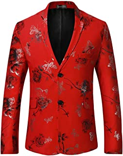 Sportides Men's Casual Slim Fit Flower Printed Two Button Blazer Jacket Suits JZA136