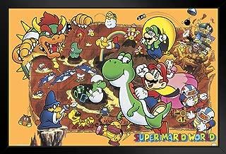 Pyramid America Super Mario World Nintendo NES Characters Yoshi Luigi Princess Video Game Black Wood Framed Poster 20x14