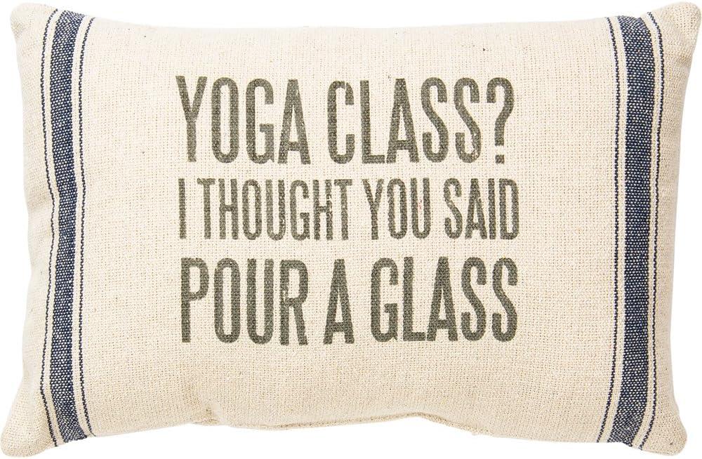 feedsack Yoga Class Primitives by Kathy Striped Throw Pillow