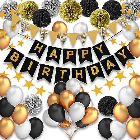Decoraciones Cumpleaños, Feliz cumpleaños Decoracion Globos Garland Banderas Conjunto 42 Piezas Suministros de decoración Material Seguro para niñas, Hombres, Negro, Dorado y Plateado