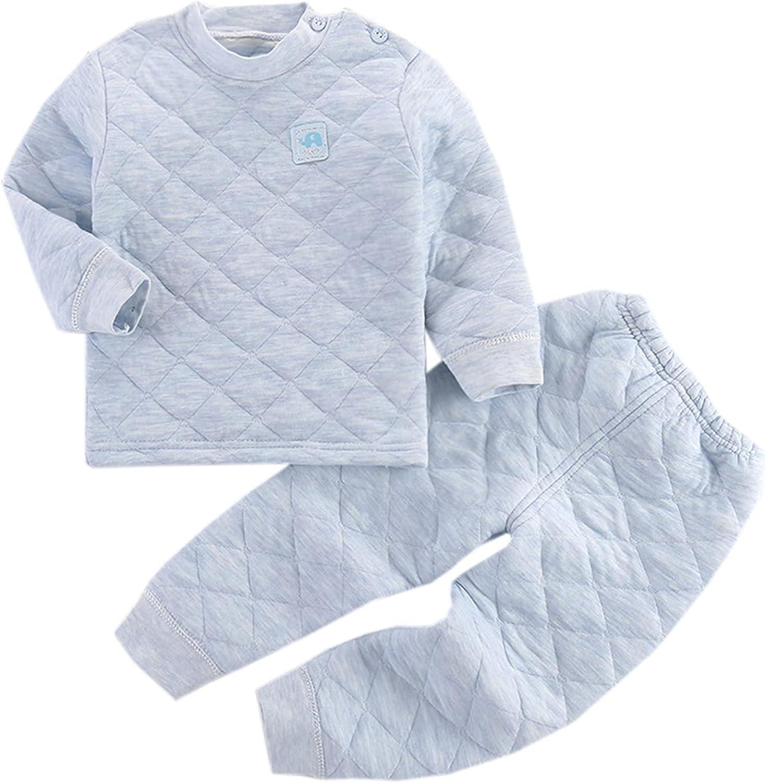 Schbbbta Little Baby Girls' Boys' Quilted Thermal Underwear Pajama Sets, 6 Months - 7 Years