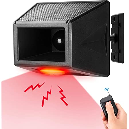 granero Achort luz de alarma solar con mando a distancia granja sirena de seguridad para casa IP65 impermeable Luz estrobosc/ópica solar con detector de movimiento 129 db de sonido villa