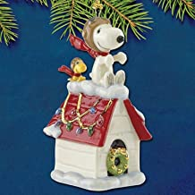 Lenox Peanuts Snoopy The Flying ace - of - aces Ornament Figurine Dog House Fighter Pilot Red Baron