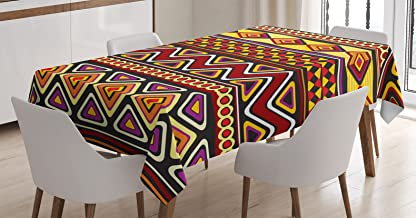 Ambesonne African Decorations Tablecloth, Oriental African Patterns with Geometric Ornate Forms and Antique Shapes Retro Artprint, Dining Room Kitchen Rectangular Table Cover, 52 X 70 inches, Multi