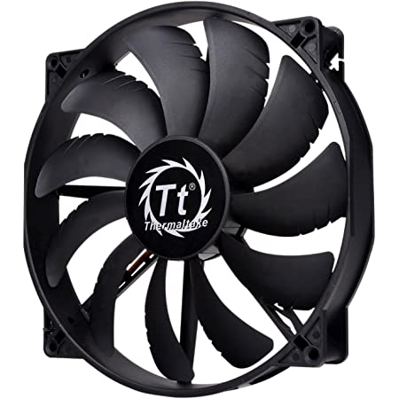 Thermaltake 200mm Pure 20 Series Black 200x30mm Thick Quiet High Airflow Case Fan with Anti-Vibration Mounting System Cooling CL-F015-PL20BL-A