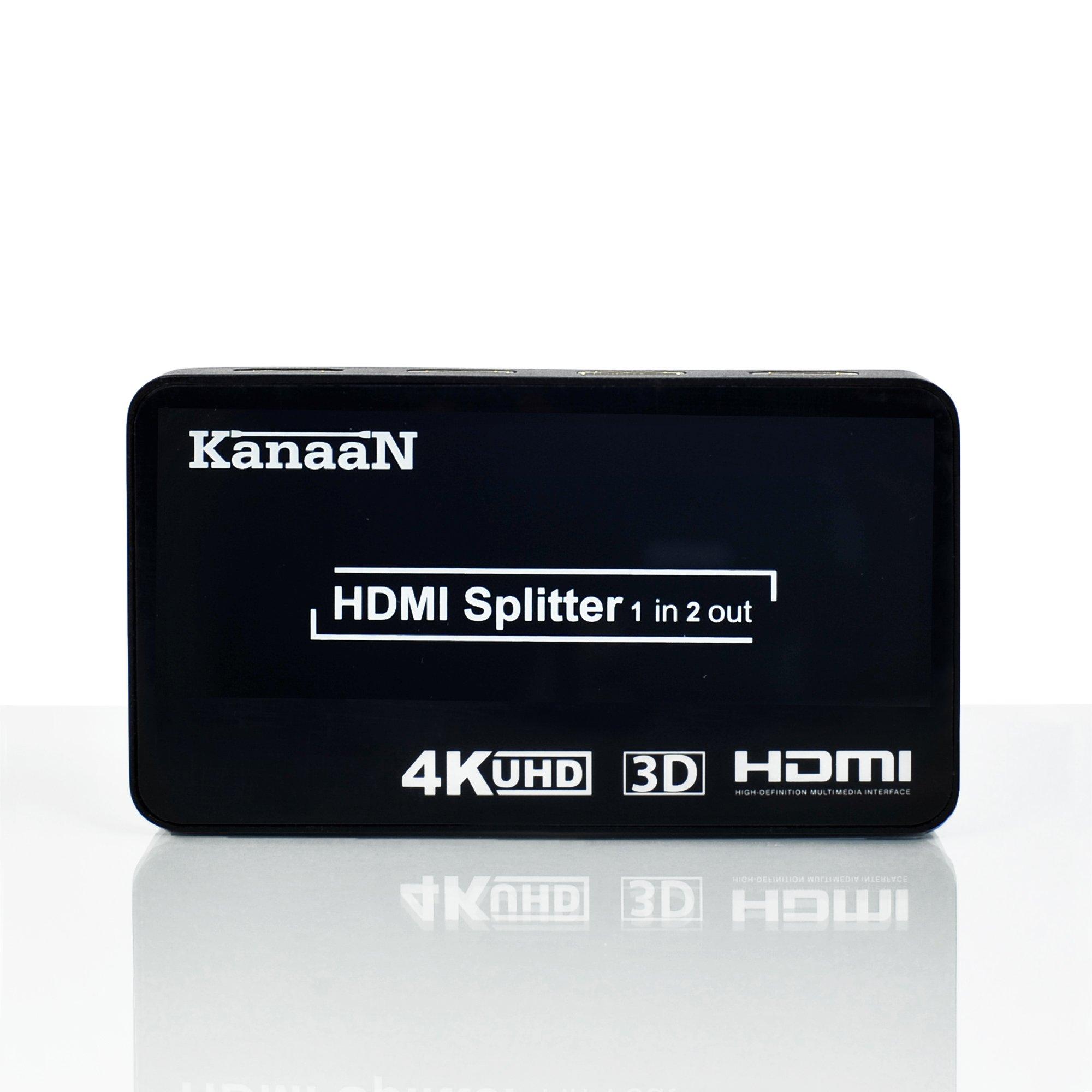 KanaaN HDMI Splitter 4K 1x2 Switch | soporta señales UHD UHD-TV, 3D, 4K, 4K, 4K