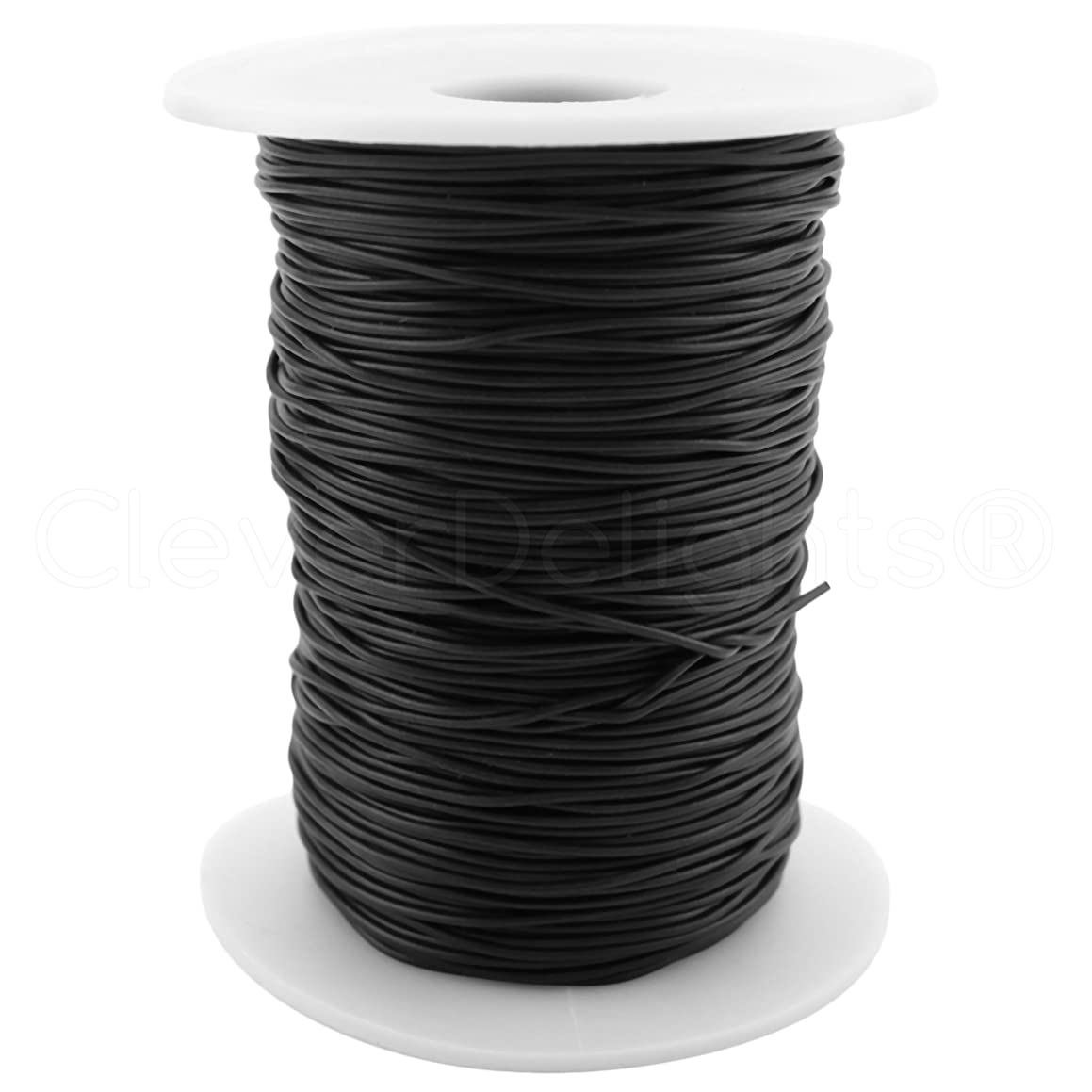 CleverDelights Black Solid Rubber Cord - 50 Yards (150 Feet) - 1mm (1/32