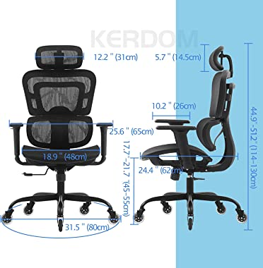 Office Chair, KERDOM Ergonomic Desk Chair, Comfy Breathable Mesh Task Chair with Headrest High Back, Home Computer Chair 3D A