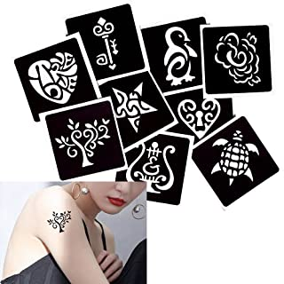 9 Sheets Life of Tree Heart Pattern Small Henna Tattoo Stencil DIY Drawing Body Paint Temporary
